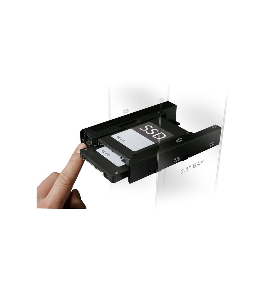 """EZ-Fit PRO MB082SP Metalowy uchwyt dysków 2 x 2,5"""" HDD SATA & ATA / SSD """"EZ-Fit"""" dopasowany do wnęki dysku 3,5"""""""