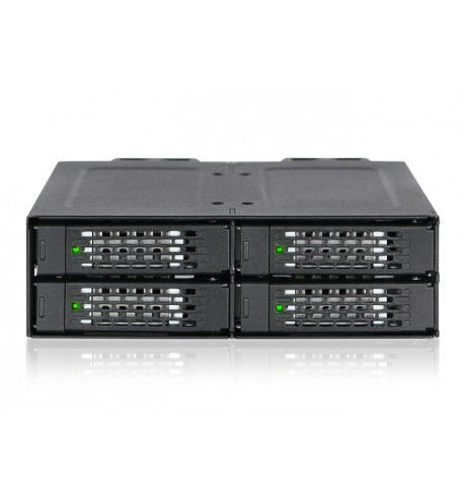 "Metalowa kieszeń 4 zatokowa 2.5"" NVMe U.2 SSD do zatoki 5.25"" (ToughArmor MB699VP-B)"